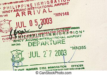 ankomst, frimärken, visum, avgång