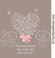 ankomst, pastell, dekorativ, hjärta, blomstrande, träd, hälsning, form, rosa, baby, lacy, flicka, blomningen, kort, vacker