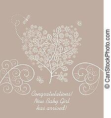 ankomst, pastell, hjärta, blomstrande, träd, hälsning, form, dekorativ, baby, lacy, flicka, kort, vacker