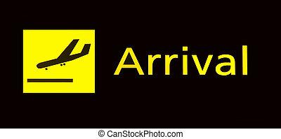 ankomst, underteckna, in, flygplats
