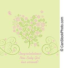 ankomst, vacker, rosa, hjärta, lätt, blomstrande, träd, hälsning, form, dekorativ, grön, baby, lacy, flicka, blomningen, kort