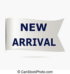 ankunft, etikett, neu , abzeichen, silber, geschenkband