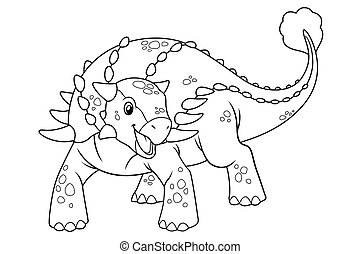 Ankylosaurus Cartoon BW