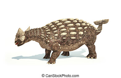 Ankylosaurus Dinosaur photorealistic and scientifically correct representation. Dynamic posture. On white background with drop shadow. Clipping path included.