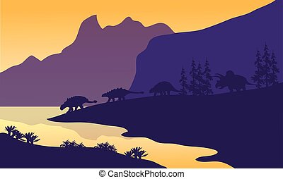 Ankylosaurus family of silhouette