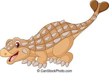 ankylosaurus, karikatur, glücklich