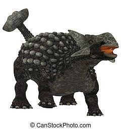 ankylosaurus, sobre, branca