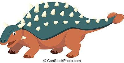 Ankylosaurus vector illustration in cartoon style for kids. Dinosaurs Collection.