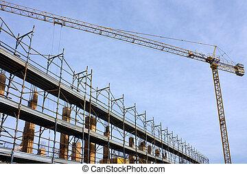 anläggning gård, -, konstruktion sajt, med, kran, och, byggnadsställningar, under, a, blåttsky