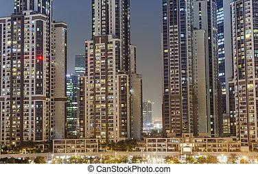 anläggningar stad, nymodig, dubai, scene., natt, förenad arabiska emirat