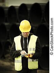 anläggningsarbetare, användande, digital tablet