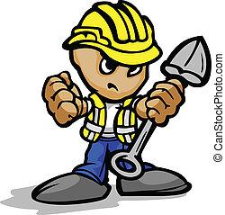 anläggningsarbetare, med, bestämd, ansikte, och, skovel,...