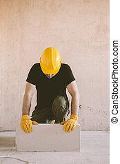 anläggningsarbetare, med, kvarter