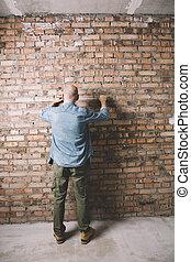 anläggningsarbetare, med, mätning band