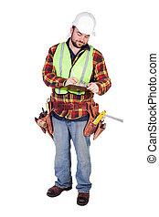 anläggningsarbetare, med, skrivplatta