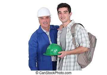 anläggningsarbetare, och, hans, lärling