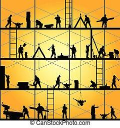 anläggningsarbetare, silhuett, på arbete, vektor,...