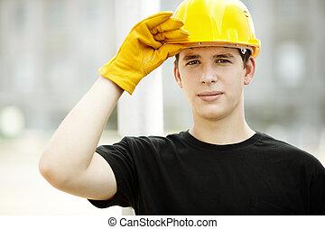 anläggningsarbetare, stående