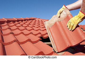 anläggningsarbetare, tegelpanna, takläggning, reparera, hus