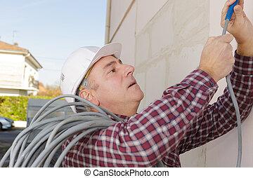 anläggningsarbetare, utanför, hos, plats