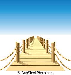 anlægsbroen, af træ