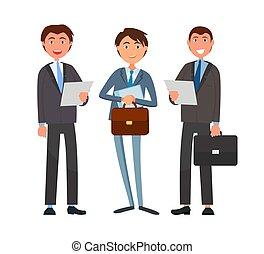 anliggender, dokumenter, forretningsmænd, firma, holde