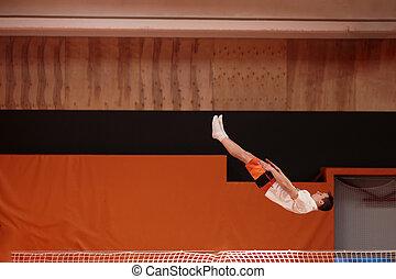 anmutig, athlet, trampolin, junger, flight.