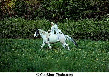 anmutig, engelchen, auf, der, majestätisch, pferd