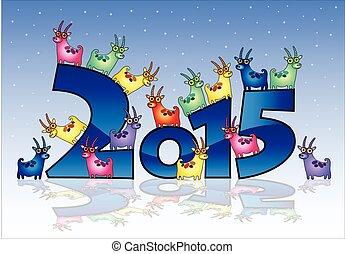 année, 2015, nouveau, chèvres, carte, heureux