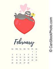 année, 2019, février, calendrier, page