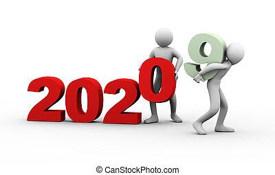 année, 2020, 3d, gens fonctionnement