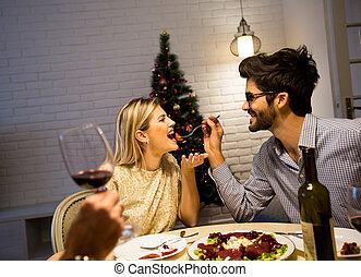 année, arbre, dîner, beautifully, intérieur, nouveau, décoré, noël