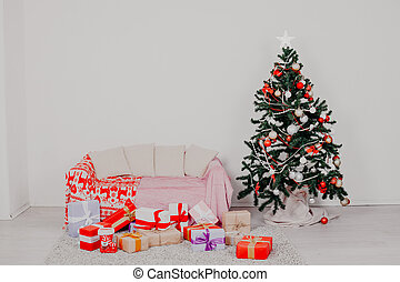 année, arbre, présents noël, lumières, nouveau