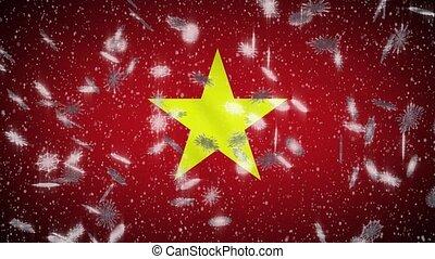 année, boucle, noël, neige, tomber, drapeau vietnam,...