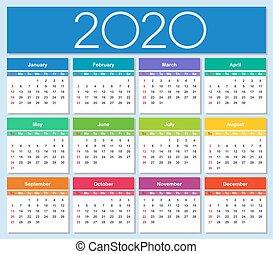 année, calendar., sunday., semaine, 2020, coloré, débuts