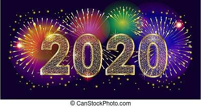 année, carte, vacances, nouveau, heureux, salutation, hiver, noël