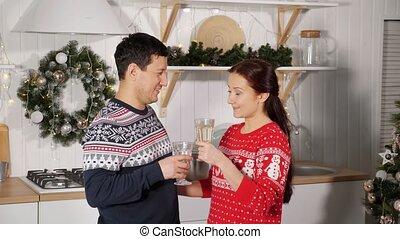 année, champagne, famille, nouveau, boire, félicite