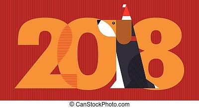 année, -, chien, 2018