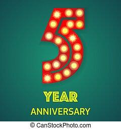 année, cinq, nombre, fond, anniversaire