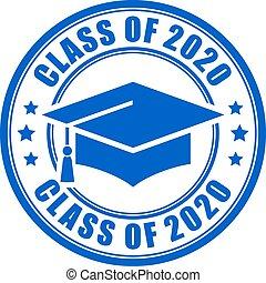 année, classe, signe, 2020, bleu