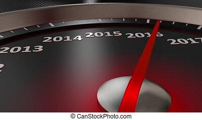 année, compteur vitesse, nouveau, heureux, 2021