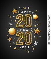 année, conception, message, nouveau, heureux, étoile or, blanc, 2020