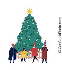 année, ensemble., nouveau, saison, arbre, white., sapin, enfants, vecteur, tenue, noël, isolé, autour de, adultes, mains, hiver, plat, événement, rassemblement, illustration., vacances, extérieur, fête, célébration