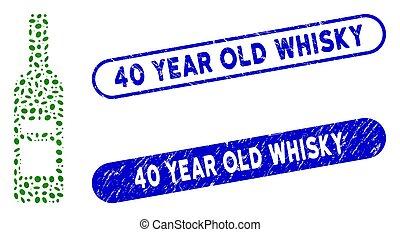 année, gratté, timbres, vin, mosaïque, ovale, whisky, 40, vieux, bouteille