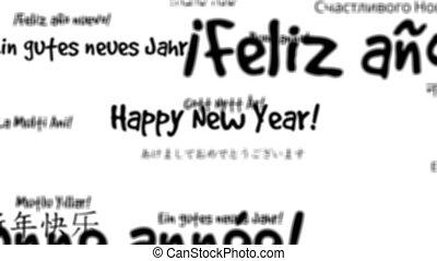 année, heureux, boucle, mots, nouveau