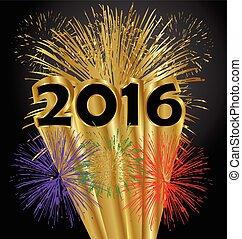 année, heureux, feux artifice, 2016, nouveau