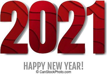année, heureux, nouveau, texte, fond blanc