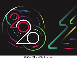 année, heureux, vecteur, nouveau, 2020, concept