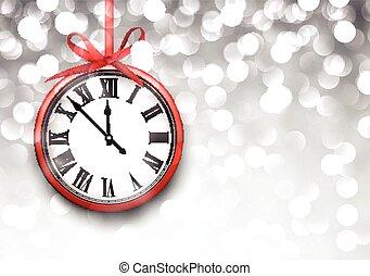 année, horloge, defocused, arrière-plan., nouveau