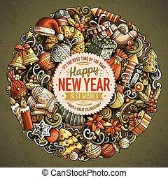 année, illustration, vecteur, nouveau, doodles, dessin animé